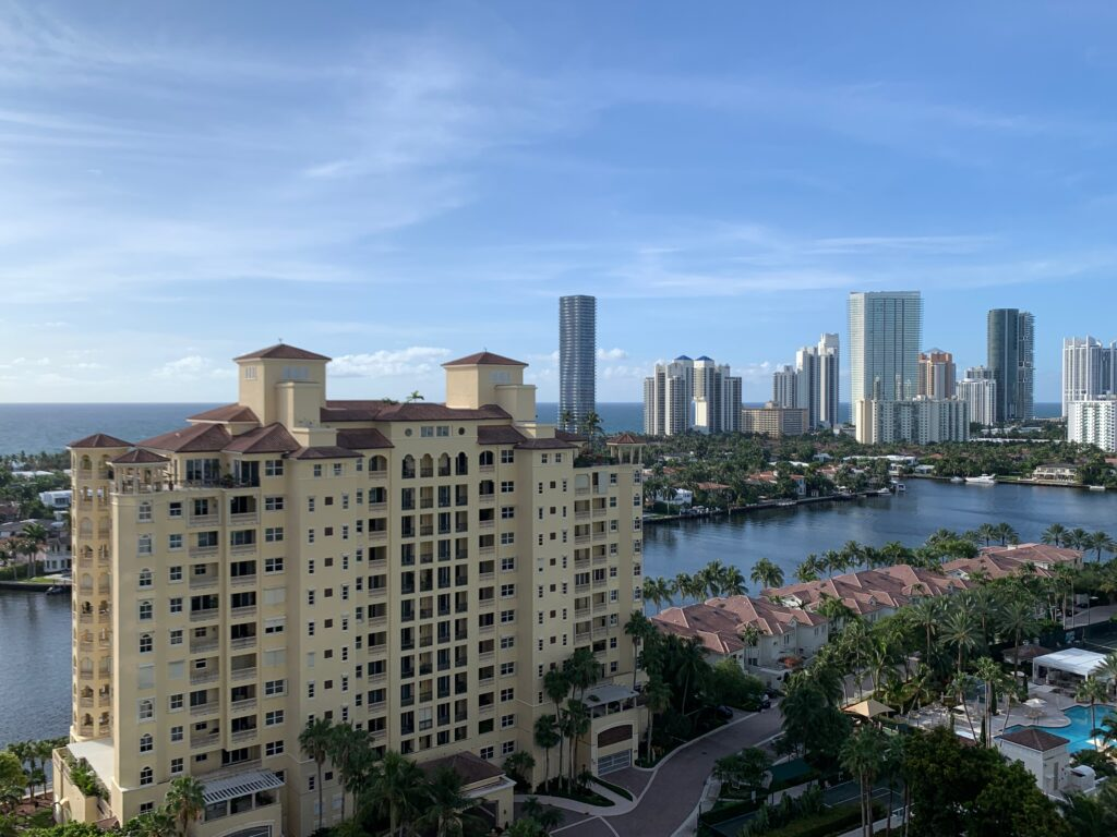A view of the Miami skyline, streets lined with palm trees and appearing to stretch directly onto the water's surface